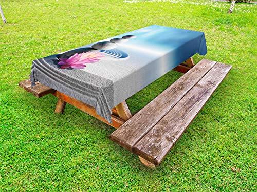 ABAKUHAUS SPA Funda Nórdica, La meditación Harmony, de Tela Estampado Decorativo Apto Lavadora, 145 cm x 210 cm, Gris Rosa Azul