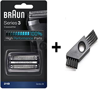 Braun 21B Braun Shaver Replacement Part Compatible with Series 3 300s Foil Head Cutter Pack and Blade Cassette Foil with Cleaning Brush