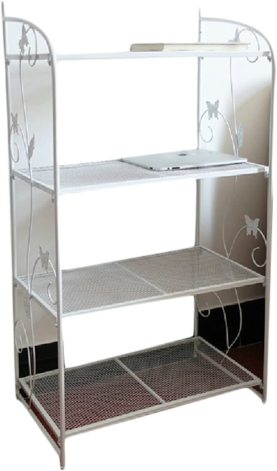 XINHE Shelving Cabinet Expandable Wire 4-Shelf Translucent Display Rack White 4 Shelves