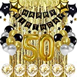 Black and Gold 50th Birthday Decorations Banner Balloon, Happy Birthday Banner, 50th Gold Foil Balloons, Number 50 Birthday Balloons, 50 Years Old Birthday Decoration Supplies
