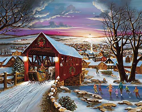 Calendario dell'Avvento con ponte coperto (conto alla rovescia per Natale)