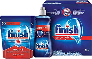 Finish Dishwasher Detergent Tablets, All in One Regular, 42s + Dishwasher Salt, 2kg + Dishwasher Rinse Aid Liquid Origina...
