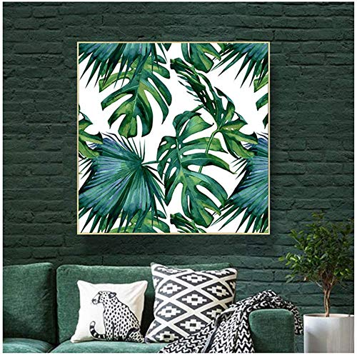 Surfilter Impresión en lienzo Hojas de palmera clásicas Selva tropical Verde Carteles e impresiones Cuadros artísticos de pared Decoración hogareña moderna nórdica 23.6& rdquo; x23.6ABC 22 rdquo;