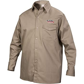 Lincoln Electric Welding Shirt | Premium Flame Resistant (FR) Cotton | Custom Fit| Khaki / Tan | XL | K3382-XL