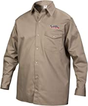 Lincoln Electric Welding Shirt   Premium Flame Resistant (FR) Cotton   Custom Fit   Khaki / Tan   Large   K3382-L