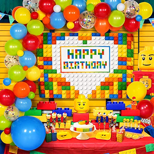 Building Blocks Party Decorations, Building Blocks Birthday party decorations, Building Blocks Backdrop with Colorful Balloons Garland Arch Kit