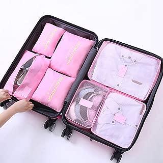 7Pcs Storage Bag Travel Space Saver Bags Large Capacity Design Multifunction Cosmetic Bag Portable Design/Multi-Color Optional QDDSP (Color : E)