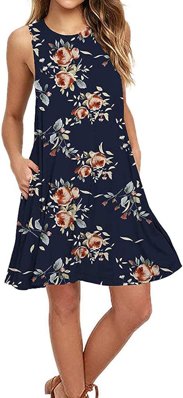AUSELILY Women's Sleeveless Pockets Casual Swing T-Shirt Dresses(M,Rose Navy)