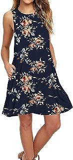 AUSELILY Women's Sleeveless Pockets Casual Swing T-Shirt Dresses (M, Rose Navy)