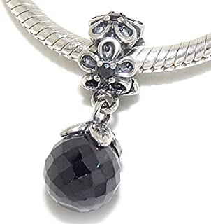 ICYROSE Solid 925 Sterling Silver Dangling Black Crystal Ball Charm Bead