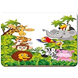 kThrones Alfombrilla de baño.Antideslizante,Estilo de Dibujos Animados Zoológico Animales Safari Selva Mascotas Bosque Tropical Patrón de Vida Silvestre Alfombra de Ducha(75cmx45cm)