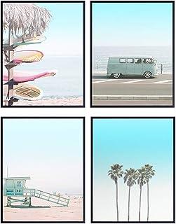 Beach Art Print Set – Tropical Palm Trees, Surfing 8×10 Wall Art Posters..