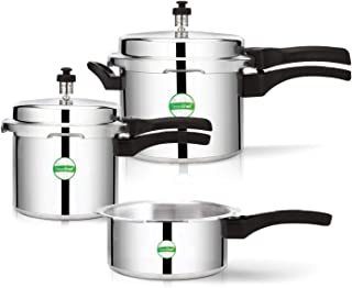 Greenchef Coral Cooker Combo 5L, 3L and 2L Aluminium Pressure cookers (Without Induction Base)