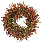 HO2NLE 21.6 inches Artificial Wreath for Front Door Fall Wreath Artificial Eucalyptus Wreath Greenery Garland for Autumn Home Outdoor Farmhouse Window Harvest Thanksgiving Day Decoration