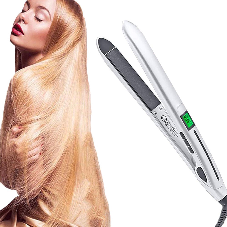 石炭アレキサンダーグラハムベル謎めいたポータブル 2 in 1 セラミック ストレートヘアアイロンと ヘアアイロン、 職業 360度 ヘアカーラー、 LCDデジタルディスプレイ ロングショート用 濡れた髪 髪にダメージなし,2