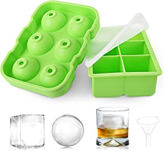HOOMIL Ice Cube Trays, Silicone Ice Cube Mold - Whiskey Ice Ball Molds and Large Square Ice Cube Maker with Spill-Resistan...