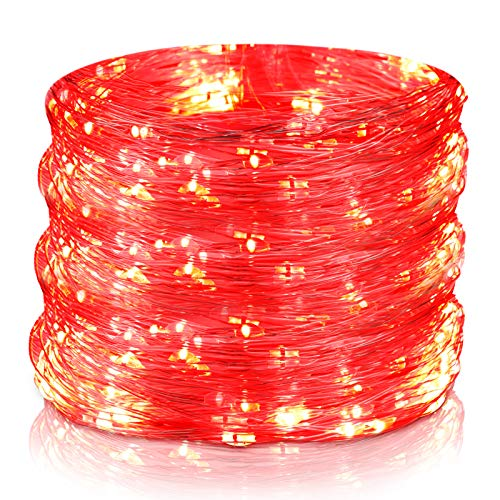 Valentine's Day String Lights 100 LEDs Operated Fairy Lights Battery Powered String Light 33 Feet Copper Wire Light for Bedroom Wedding, Red