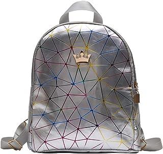 Extra Large Backpack Vintage Girl Schoolbag Female Simple Wild Campus Soft Leather Backpack College Student Backpack Female Wild Girl Student Student Backpack (Color : Silver)