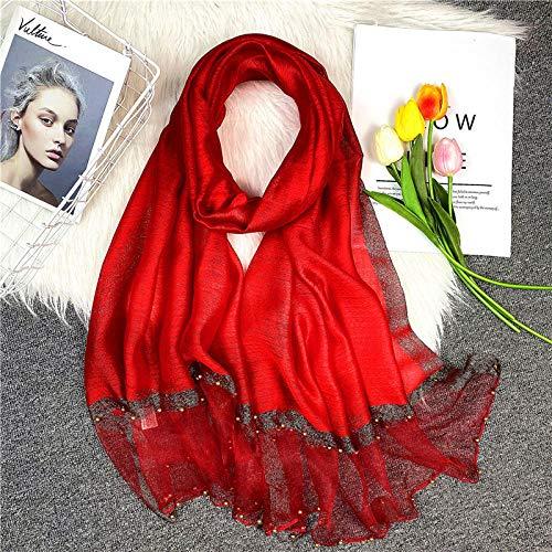 Foulards pour femmes foulard Foulard en soie mélangée pure couleur femmes automne et hiver mode foulard en soie à la main perle précieuse écharpe haut de gamme-Gros rouge_180x70cm
