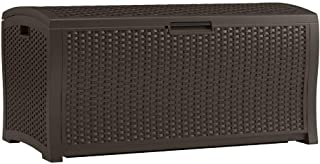 Suncast 122 Gallon Resin Rattan Patio Storage Box - Water Resistant Outdoor Storage Container for Toys, Furniture, Yard Tools - Store Items on Deck, Porch, Backyard - Java
