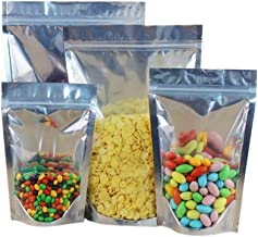 (Price/50 PCS) Aspire Heat Sealable Aluminium Foil Zip Lock Stand Up Food Pouch Bags with Notch - FDA Compliant-6.75 x 9 x 3 inch/8 oz