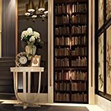 3D Door Stickers for Interior Doors Self Adhesive Wall Art Stickers for Bedroom House Living Bedroom Office Bathroom Home Improvement 77 X 200 cm(Dark Bookcase)