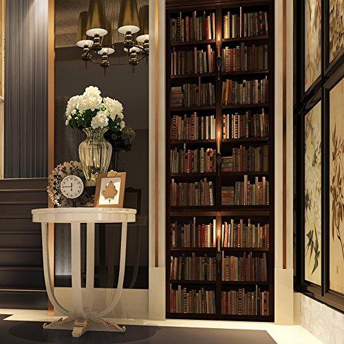 Adesivi per Porte 3D per Decorazione Parete Soggiorno Cucina Camera da letto Bagno Carta da parati 77X200cm (Libreria Scura)