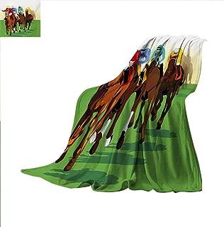 Horse Throw Blanket Vibrant Colorful Competitive Scene with Jockeys Racing Horses Equine Retro Artwork Velvet Plush Throw Blanket 60 x 60 inch Multicolor