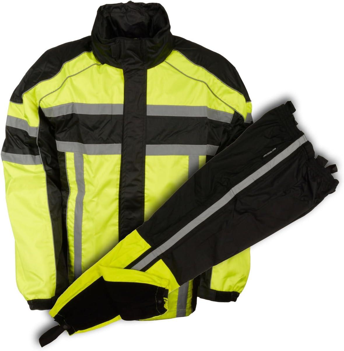 テレビで話題 Milwaukee Leather Men's Black Neon Suit 5☆好評 Resit Green Rain Water