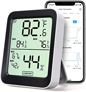 Thermometer Hygrometer, Accurate Indoor Temperature Humidity Sensor with Notification Alert, LCD Bluetooth Temp Humidity M...