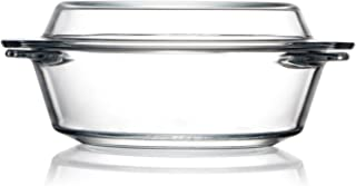 Clear Small Glass Casserole Dish With Glass Lid Mini Glass Microwave Bowls with Lids, Glass Microwavable Bowls (0.65L)