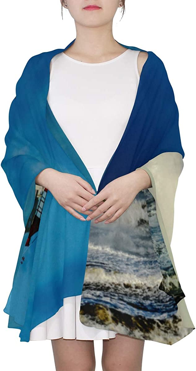 Lighthouse On The Sea Under Sky Unique Fashion Scarf For Women Lightweight Fashion Fall Winter Print Scarves Shawl Wraps Gifts For Early Spring
