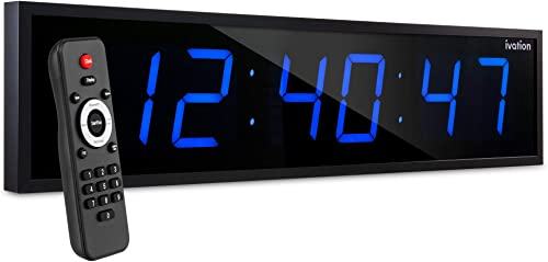 """wholesale Ivation Huge 24"""" Inch Large popular Big Oversized Digital LED discount Clock with Stopwatch, Alarms, Countdown Timer & Temp - Shelf or Wall Mount (Blue)   6-Level Brightness, Mounting Holes & Hardware outlet online sale"""