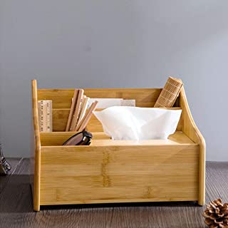 ZYZRYP Desk Storage Box - Multi-function Bamboo Tissue Box Desktop Storage Box,Storage box coffee table living room multi-...