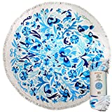 Mimosa Inc Round Beach Towel Ultra Plush 100% Cotton Terry Velour Throw Mat with Thick Artisan...
