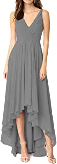 Lianai Women's Ruched Bodice High Low Bridesmaid Wedding Guest Dress