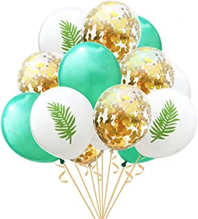 Gold Hawaii Confetti Party Balloons,15 Pcs Pineapple Tropical Leaves Hawaii Party Balloons for Hawaii Luau Party Birthday Wedding Theme Party Decorations(2)