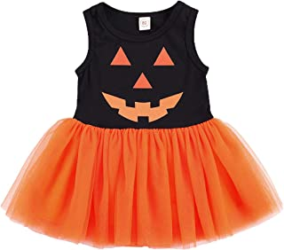 Infant Baby Girl Halloween Outfit Sleeveless Pumpkin Stitching Tulle Tutu Dress Princess Sundress Halloween Costume