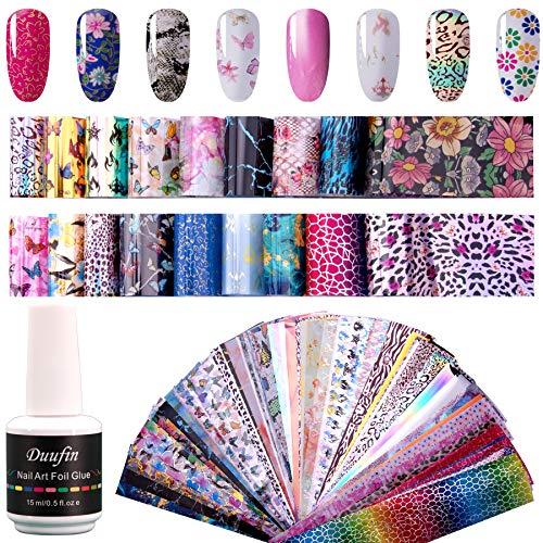 Duufin 100 Stück Transferfolie Nägel Set Nail Art Transferfolie Sticker mit 1 Gläse Nagelkleber Nägel Folie Transfer Nägelfolien für DIY Nägel Dekoration