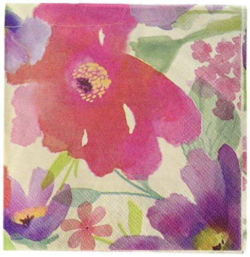 amscan - Servilletas de acuarela para bebidas con flores y jardín floral de 5 x 5 cm, 36 servilletas de fiesta para niños