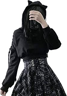 Women Pullover Hoodies Y2k Fashion Printing Long Sleeve Cute Ear Cat Off Shoulder Punk Hooded Tops