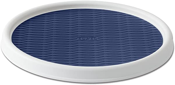 Copco 5224642 Non Skid Pantry Cabinet Lazy Susan Turntable 12 Inch White Blue
