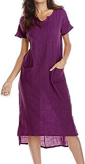 f1647e6ad23a16 Guesspower Robe Femme Longue Eté Chic Maxi Bohème Classique Eté  Decontractée Femme Tunique Manche Courte Grande
