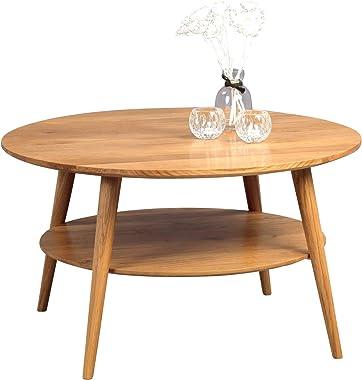 HomeTrends4You 247222 Couchtisch Stella, rund, Echtholz Wildeiche massiv geölt, Durchmesser 80cm, Höhe 45cm