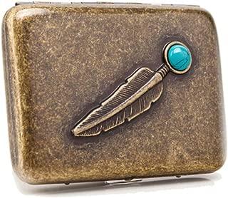 YZY Cigarette Box 16 Sticks, Portable Simple Retro Cigarette Case Copper,Gift For Smokers, Size 9.4 * 6.9 * 1.9, Vintage Copper (Color : Bronze)