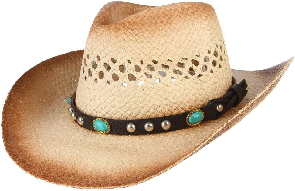 GR Fashion Men Women Straw Western Cowboy Hat with Punk Belt Sun Hat Hollow Out Hat Casual Hat (Color : Coffee, Size : 56-58)