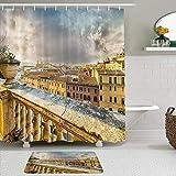 LISNIANY Conjunto De Ducha Cortina Alfombra,Vista panorámica Italiana del Centro histórico de Roma Desde el Antiguo balcón aéreo,Uso en baño, Hotel