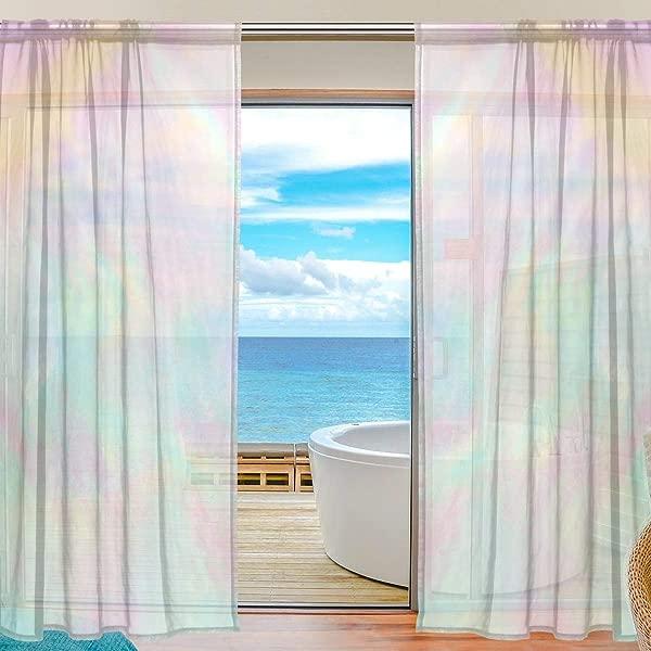 顶级木匠全息彩虹色粉色橙色半透明窗帘窗纱窗帘面板处理 55x78in 客厅卧室儿童房 2 件