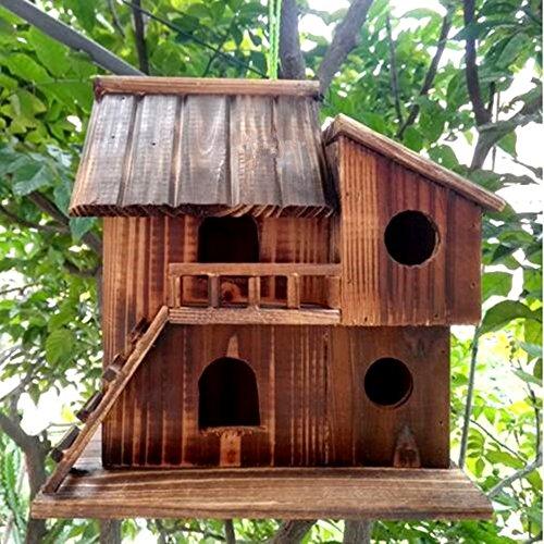 bird houses QTMY Preservative Wood Bird Houses for Outside Hanging Garden Decor,Birds Nest Box(S)