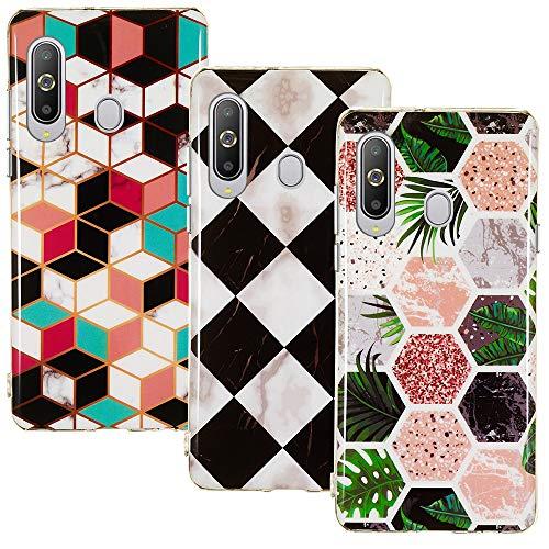 CLM-Tech Hülle 3X kompatibel mit Samsung Galaxy A8s, TPU Silikon-Hülle Case Schutzhülle Handyhülle 3er Set, Formen bunt Mehrfarbig